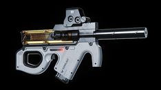 The Superlight Compression SMG is a fictional concept for a weapon existing in a future science fiction universe, where traditional guns are too volatile to use within space stations, so air powered weapons have become an alternative. Sci Fi Weapons, Weapon Concept Art, Fantasy Weapons, Weapons Guns, Armes Futures, Future Weapons, Gun Art, Futuristic Art, Cool Guns