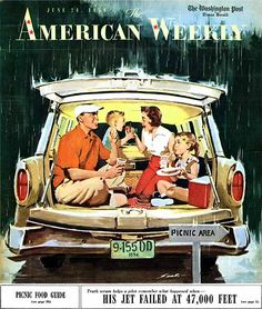 """This made me immediately remember going to estate and farm sales with our parents when we we young and having food packed up in the back of the wagon! """"Station Wagon Picnic,"""" art by Mauro Scali, detail from American Weekly Magazine cover - June 1956 Vintage Advertisements, Vintage Ads, Vintage Prints, Vintage Posters, Retro Posters, Vintage Magazines, Movie Posters, Vintage Pictures, Vintage Images"""