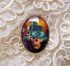 Steampunk Hat On Skull 30X40mm Glitter Unset Handmade Art Bubble Cameo Cabochon #Handmade #Cameo