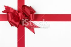 Christmas Gift Red Bow Isolated on White with Clipping Path Royalty Free Stock Photo >2600