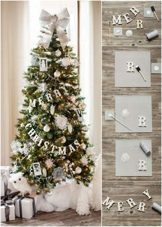 feliz navidad en carton con pintura. How to Make a Glittered Wood Letter Garland :: The TomKat Studio for Michaels Dream Tree Challenge http://www.thetomkatstudio.com/diychristmastreegarland/ #tomkatstudio #justaddmichaels