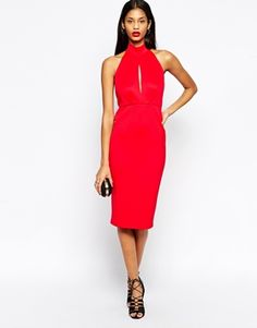 Enlarge ASOS High Neck Scuba Plunge Cutout Midi Dress. USA system appropriate.