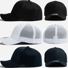 New Unisex Mens Womens Plain Solid Mesh Flexfit Stretch Fit Baseball Caps Hats #hellobincomAll #BaseballCapHats
