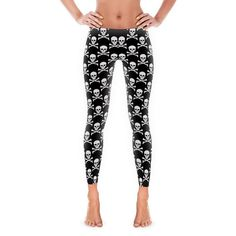 0fd9ec221 Women's Leggings - Womens Fun Print Leggings - Skull and crossbones - tattoo  - pirate - Ladies Leggings Adult Leggings Yoga Pants Exercise