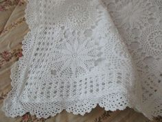 white crocheted PILLOW SHAM  lace scalloped cotton