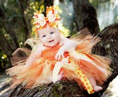 So Sweet Candy Corn Baby Tutu Dress from So Sweet Girl Boutique #girlstutu - Perfect for Halloween or Fall pictures!