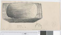 Osebergfunn fra mappe 'Oseberg, øser og kar': trekar 1905 - 131b Tusjtegning av Sofie Krafft. Mål: B: 37,5 cm, H: 18,5 cm.