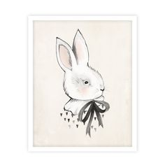 Whimsical bunny art print by Kelli Murray for Rylee & Cru. Printed on matte white paper - acid free, 110 lb cover, 298 GSM Sealed in a cello sleeve with protective stiff cardboard.