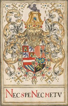 Coat of arms of Philip II as Sovereign of the Order of the Golden Fleece. Livre du toison d'or, The Netherlands, 1590.