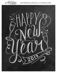 Happy New Year 2014   Printable. Chalkboard.
