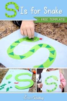 """Looking for a printable letter S craft for your preschooler? This """"S is for Snake"""" craft is perfect for practicing the letter S! Letter S Activities, Preschool Letter Crafts, Alphabet Letter Crafts, Abc Crafts, Daycare Crafts, Toddler Crafts, Preschool Activities, Crafts For Kids, Letter Tracing"""