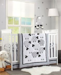 Super cute nursery & crib setup. sheep pr farm theme in grey and white. #afflink
