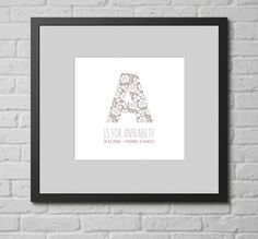 Personalised Print - New Baby Name & Letter. This personalised typographic art print is a lovely gift for any new babies in your life.