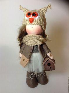 Fabric doll / Коллекционные куклы ручной работы. Ярмарка Мастеров - ручная работа. Купить Кукла Совушка. Handmade. Коричневый, кукла текстильная