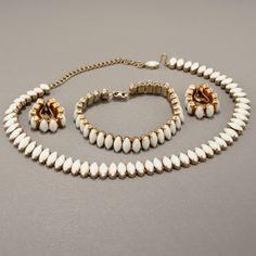 Milk Glass Navette Choker Bracelet Surround Clip Earrings  Vtg Jewelry.