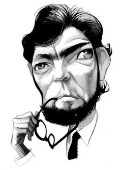Portraits - Caricatures by Fernando Vicente, via Behance Irish Terrier, Celebrity Caricatures, Ex Libris, The Funny, Literature, Illustration Art, Digital Art, Drawings, Black And White