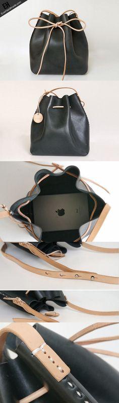 Handmade Womens Black Leather Shoulder Bucket Bags Barrel Purse for Women 89972c0ecc21d