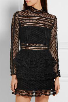 Self-Portrait | Tiered guipure lace mini dress | NET-A-PORTER.COM