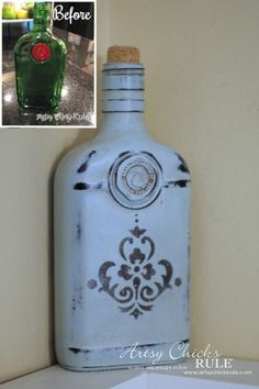 Annie Sloan Chalk Paint - It's Not Just For Furniture - old gin bottle  - #chalkpaint #ascp #anniesloan artsychicksrule.com