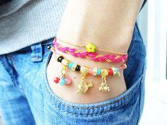 Evil eye bracelet set of 3 pink turkish istanbul by Handemadeit, $28.90