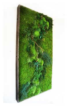 40 x 18 LARGE Plant Painting No Care Green Wall by ArtisanMoss