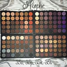 Morphe Palettes Top left is 35o, top right is 35p, bottom left is 35k, and bottom right is 35t