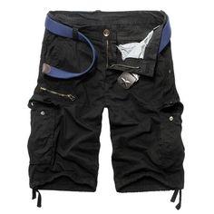 Shorts Men 2017 Casual Loose Shorts Homme New Brand Fashion Mens Bermuda Cargo Shorts Solid Shorts Men Pockets Plus Size 30-38