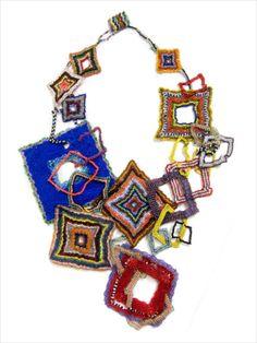 JOYCE J. SCOTT QUILT SQUARES Neckpiece. Hand stitched glass beads.