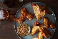 the secret to crispy *baked* chicken wings. Ideas in Food's Korean-Style Chicken Wings Korean Chicken Wings, Chicken Wing Recipes, Baked Chicken, Oven Chicken, Crispy Chicken, Chicken Kitchen, Fries In The Oven, Stuffed Whole Chicken, Food 52