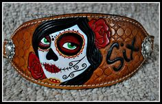 Custom tooled and painted bronc noseband, Day of the Dead, customized with horses name.