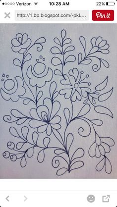 Embroidery Design by Rita Barton: Painted Hungarian Folk Art Flowers @ ritaba . Mexican Embroidery, Hungarian Embroidery, Learn Embroidery, Crewel Embroidery, Cross Stitch Embroidery, Folk Art Flowers, Flower Art, Painting Flowers, Embroidery Flowers Pattern