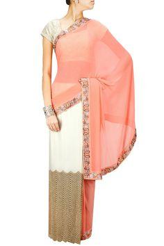 Peach and white half and half swarovski embellished sari. BY CHHAYA MEHROTRA. Shop now at: www.perniaspopups... #perniaspopupshop #designer #stunning #fashion #style #beautiful #happyshopping #love #updates