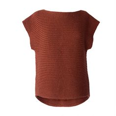 Constructed side to side, this unique pullover is knit in a simple rib stitch that provides luxurious stretch and drape....