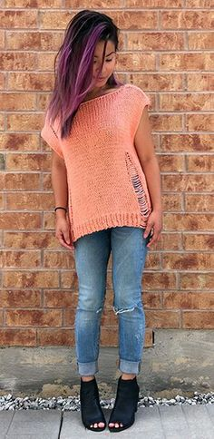 Free knitting pattern and photo tutorial for Wrecked Tee top using drop stitches for a distressed look. tba