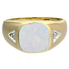 Antique Cushion Cut Opal Gemstone Diamond Men's Gold Ring Available Exclusively at Gemologica.com Men's Opal Jewelry Opal Mens Rings For Sale @ Gemologica