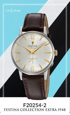 La montre Festina F20254/2 de la collection extra 1948 et son bracelet en cuir marron sont disponible à petit prix chez Chic-Time. Avec son mouvement en quartz et son affichage analogique, cette réédition vous fera craquer ! D'autres idées de cadeau de noël sur www.chic-time.fr
