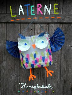 Laternen basteln Instructions for recycling / upcycling crafts with children: Owl lantern for Sankt Winter Crafts For Kids, Diy Crafts For Kids, Easy Crafts, Children Crafts, Summer Crafts, Newspaper Crafts, Book Crafts, Craft Books, Owl Lantern