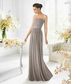 Vestido de fiesta largo estrapless en color gris para damas de boda - Foto La Sposa