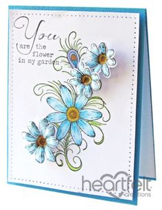 Heartfelt Creations | Blue Feathered Daisies