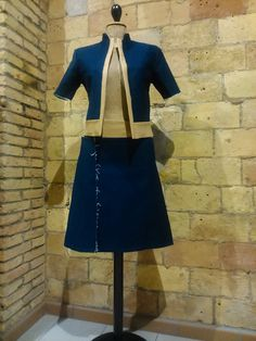 Conjunto chaqueta manga corta denim y falda