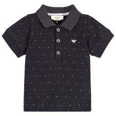A mix of classic styling and comfort this polo shirt made in soft cotton jersey is a must for little boys. Made by Armani Baby, it has a white flecked pattern, logos within the weave of the ribbed collar and an embroidered logo on the chest.