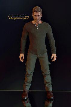1/ 6 figure in dark passenger Dexter long sleeve olive drab henley shirt and cargo pants