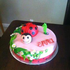 Ladybug cake for a 1st birthday. The ladybug is a mini cake for the birthday girl!