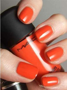 Love this shade of Orange- my latest color obsession!   | Best Mac Nail Polishes |
