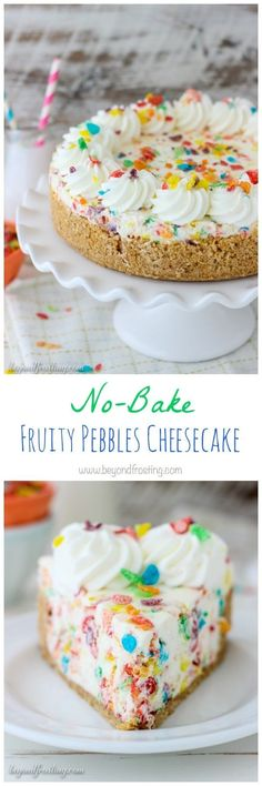 Scroll WAYYYYY down for recipe!If you loveove the fruity flavors in this No-Bake Fruity Pebbles Cheesecake! The no-bake cheesecake filling is loaded with Fruity Pebbles on a Nilla Wafer crust. This recipe is quick, easy and delicious! No Bake Desserts, Just Desserts, Delicious Desserts, Dessert Recipes, Yummy Food, Healthy Desserts, Holiday Desserts, No Bake Cheesecake Filling, Cheesecake Recipes