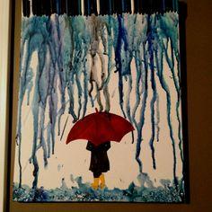 Umbrella girl  Crayon art!