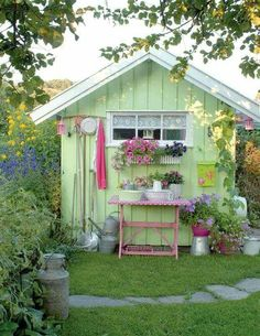 Green garden shed. Cute