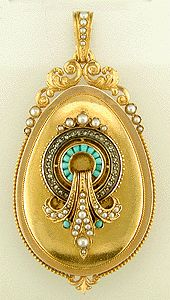 Victorian locket, 18K yellow gold with diamonds, pearls, and turquoise, ca. 1875