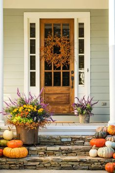 Autumn can't arrive fast enough. That's why we can't tear our eyes away from these pretty front porches that are all decked out and ready for fall festivities. Each autumnal container garden and fall wreath-clad front door promises the arrival