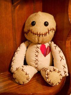 15  Voodoo doll linen fabric burlap plastic eyes by GhoulieDollies